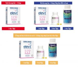 Sử dụng Elevit + DHA + Canxi
