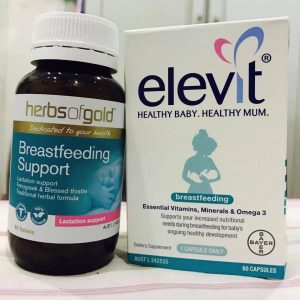 Elevit sau sinh và Lợi sữa Herbs of Gold Úc