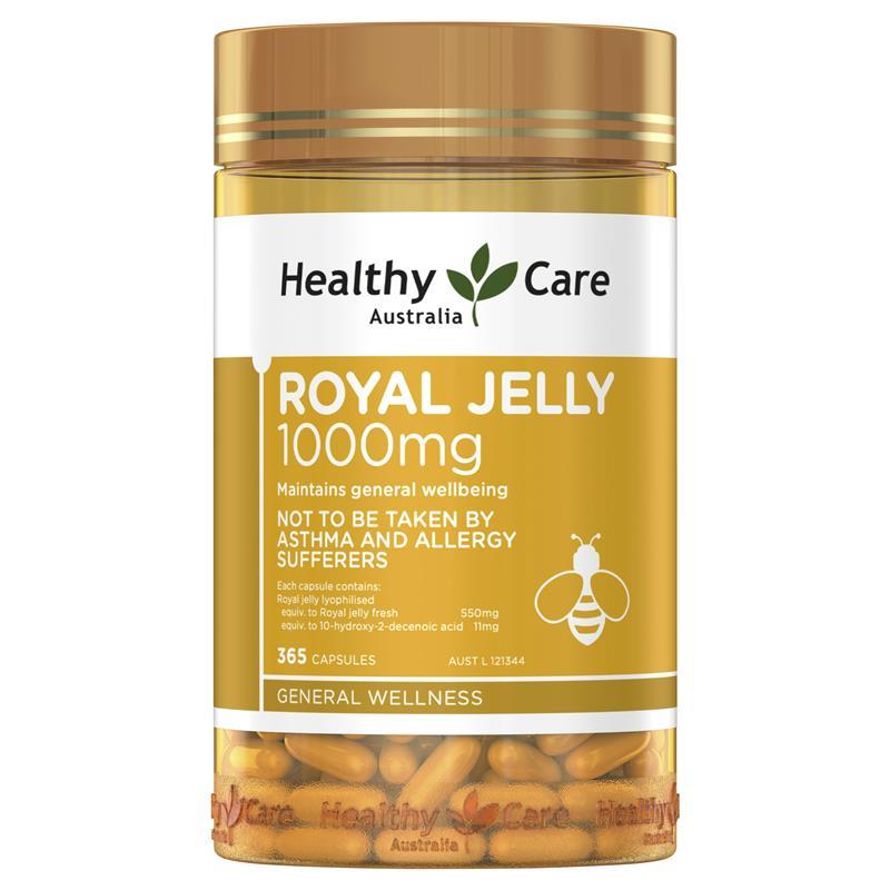 [MẪU MỚI] Sữa ong chúa Úc Healthy Care 1000mg 365 viên – Đẹp da, làm chậm lão hóa