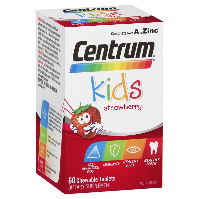 [MẪU MỚI] Centrum Kidsdạng viên 60 viên vị dâu của Úc – Bổ sung đầy đủ Vitamin cho bé từ A đến Z