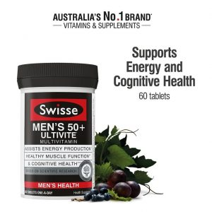 Swisse Vitamin tổng hợp cho nam giới trên 50 tuổi – Swisse Men's Ultivite Multivitamin 60 tablets