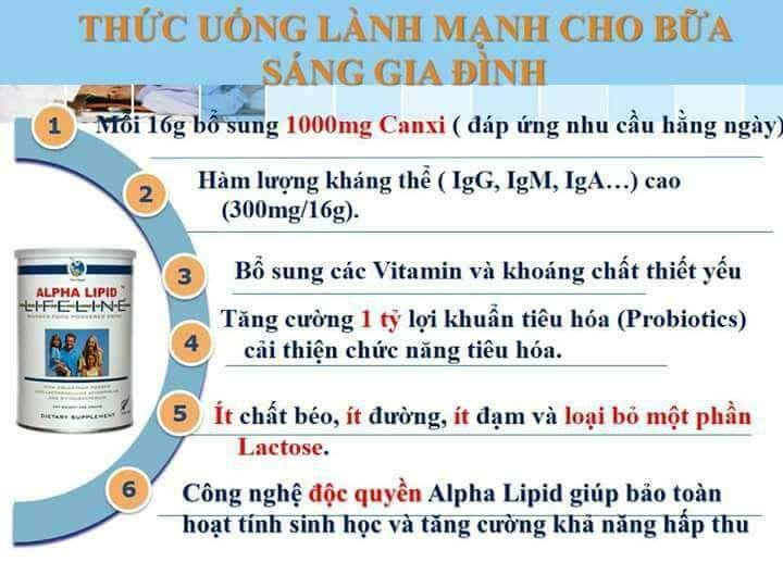 Công dụng sữa non Alpha Lipid Lifeline